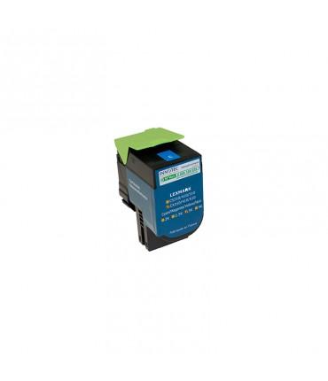 Toner compatible Lexmark CX410 CX510 cyan grande capacité